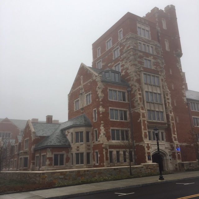 Yale residential college in thick fog