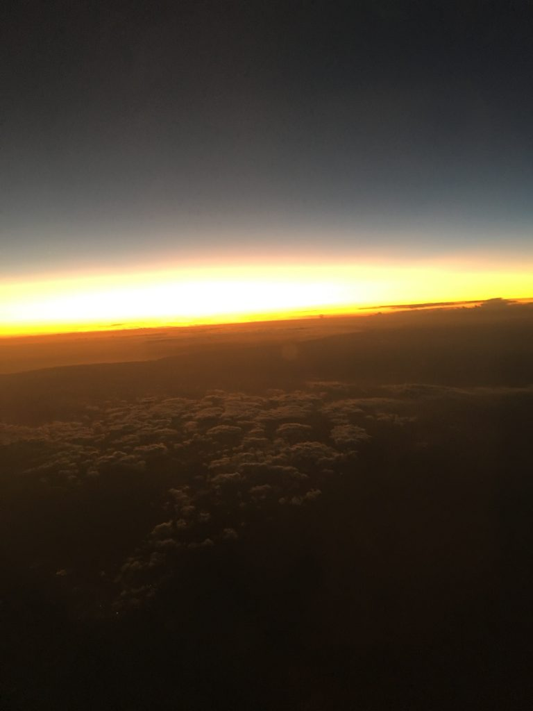 Sunset near Tampa, Florida, seen from an airplane